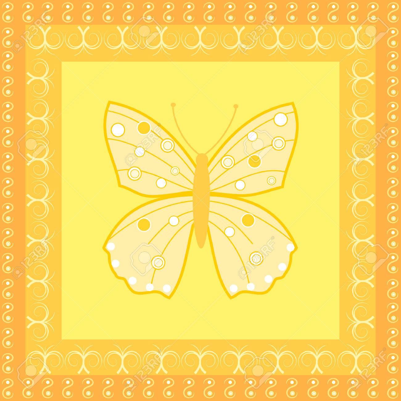 Una Mariposa En Las Plazas De Color Amarillo Y Naranja Enmarcado Con ...