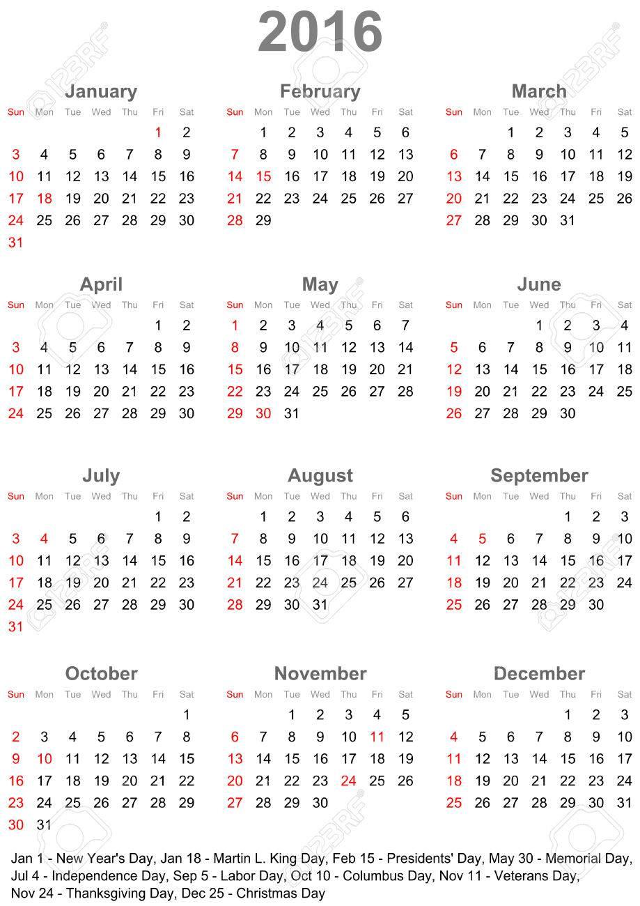 Een Kalender 2016 Gemarkeerd Met De Officiele Feestdagen Voor De Verenigde Staten De Week Begint Op Zondag Royalty Vrije Cliparts Vectoren En Stock Illustratie Image 44184945