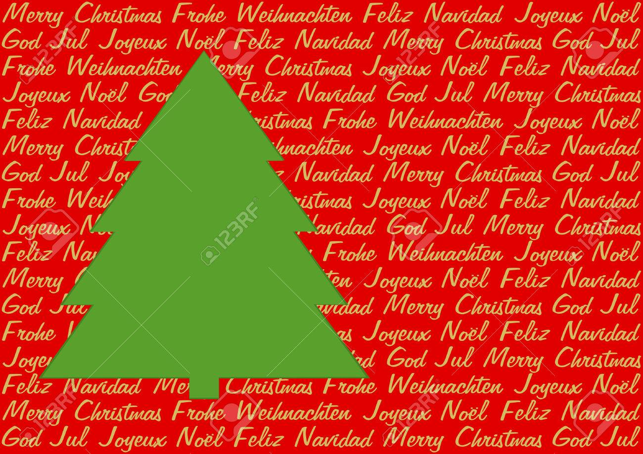Green christmas tree on red background with christmas greetings green christmas tree on red background with christmas greetings in five languages in golden letters in m4hsunfo
