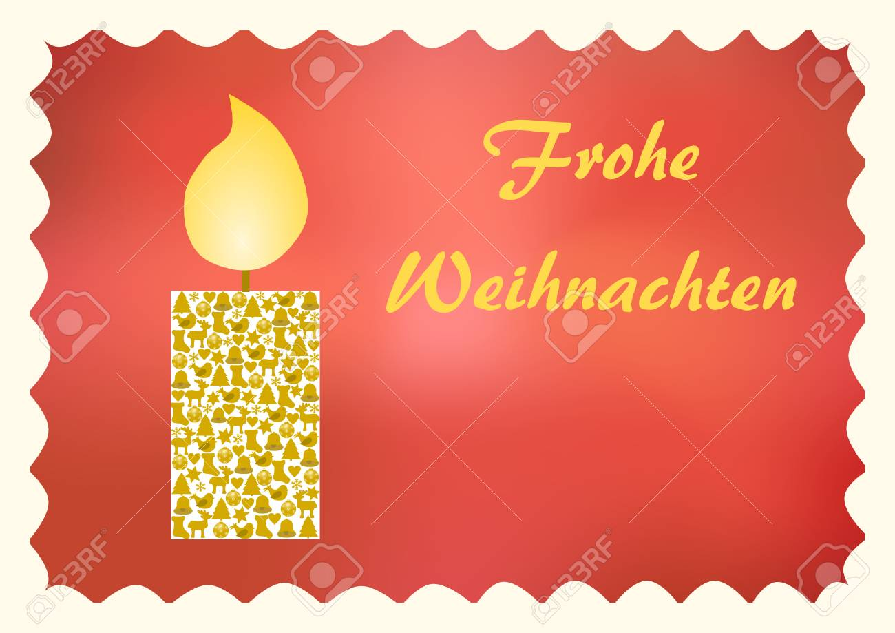 Glowing candle with christmas symbols on a red background with glowing candle with christmas symbols on a red background with merry christmas lettering in german on buycottarizona Image collections