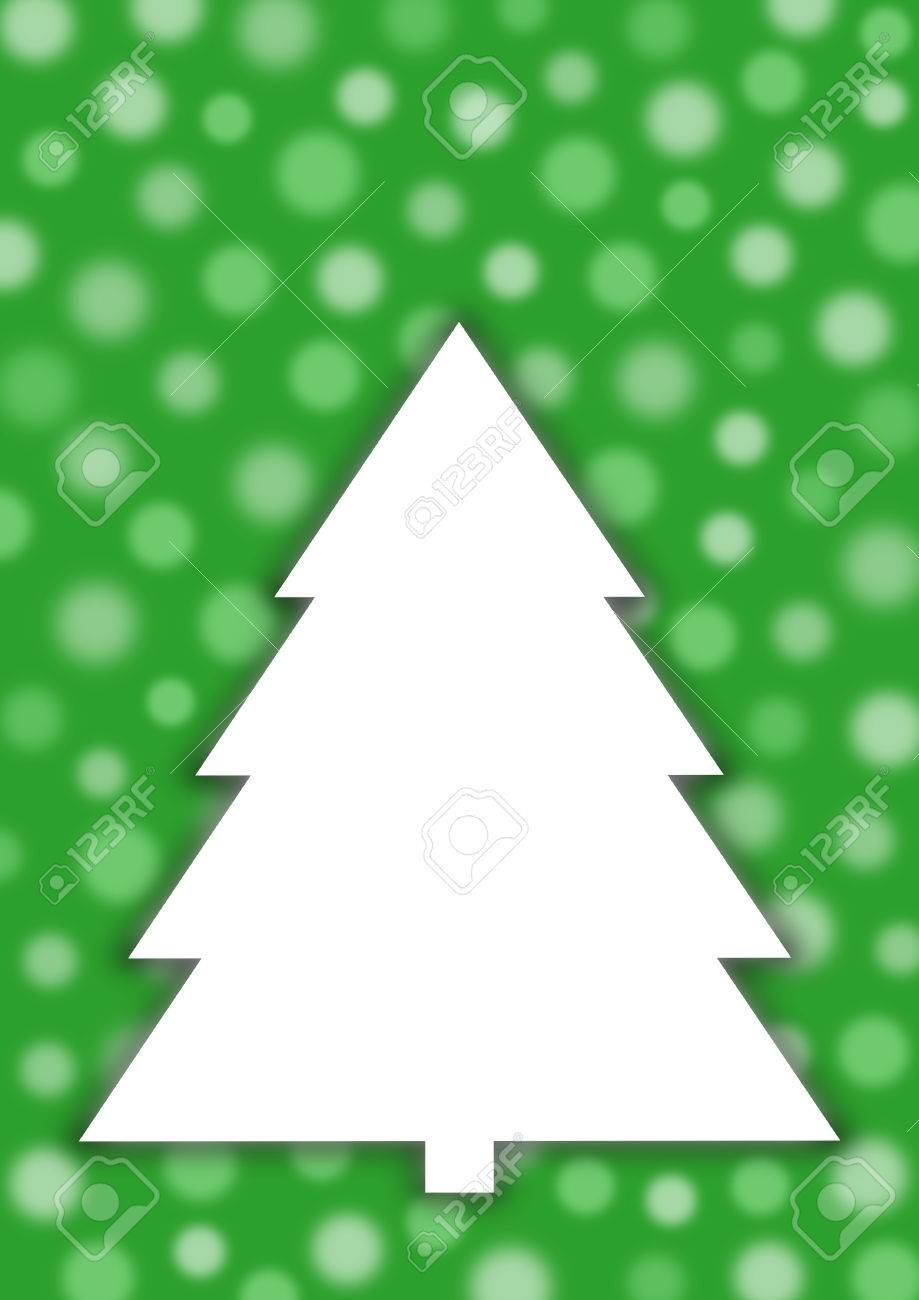 White Christmas Tree On Green Background With Transparent And