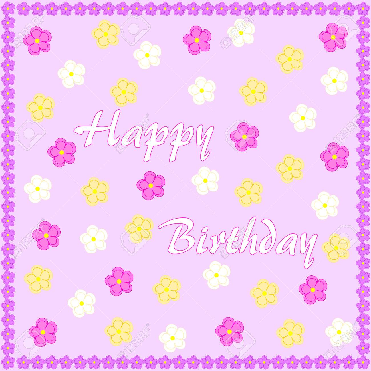 Happy birthday on light purple with colorful flowers and edged happy birthday on light purple with colorful flowers and edged with purple flowers stock vector izmirmasajfo