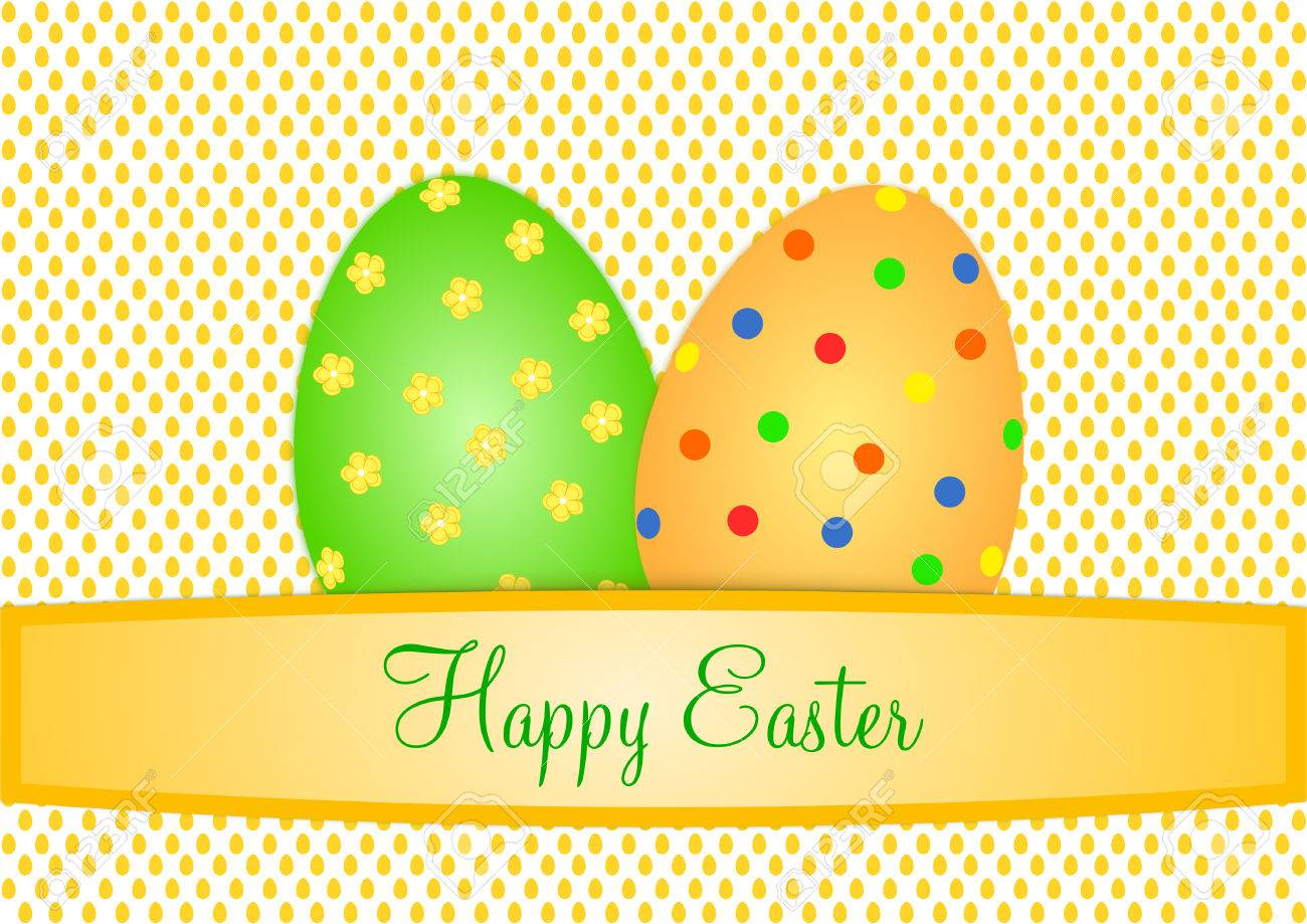 Easter Card With Two Large Colorful Eggs On A Background Small Orange And