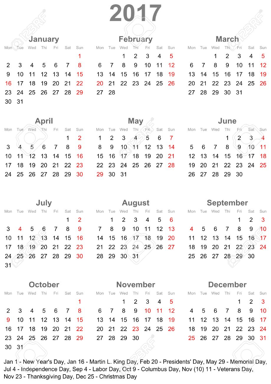 Simple Calendar 2017 - One Year At A Glance - Starts Monday With ...