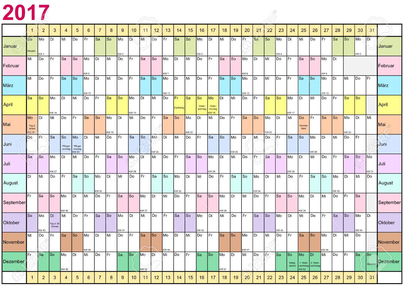 Year Planner 2017 Linearly With Public Holidays And Each Month ...