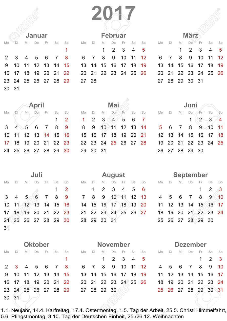 Eenvoudige kalender 2017 - een