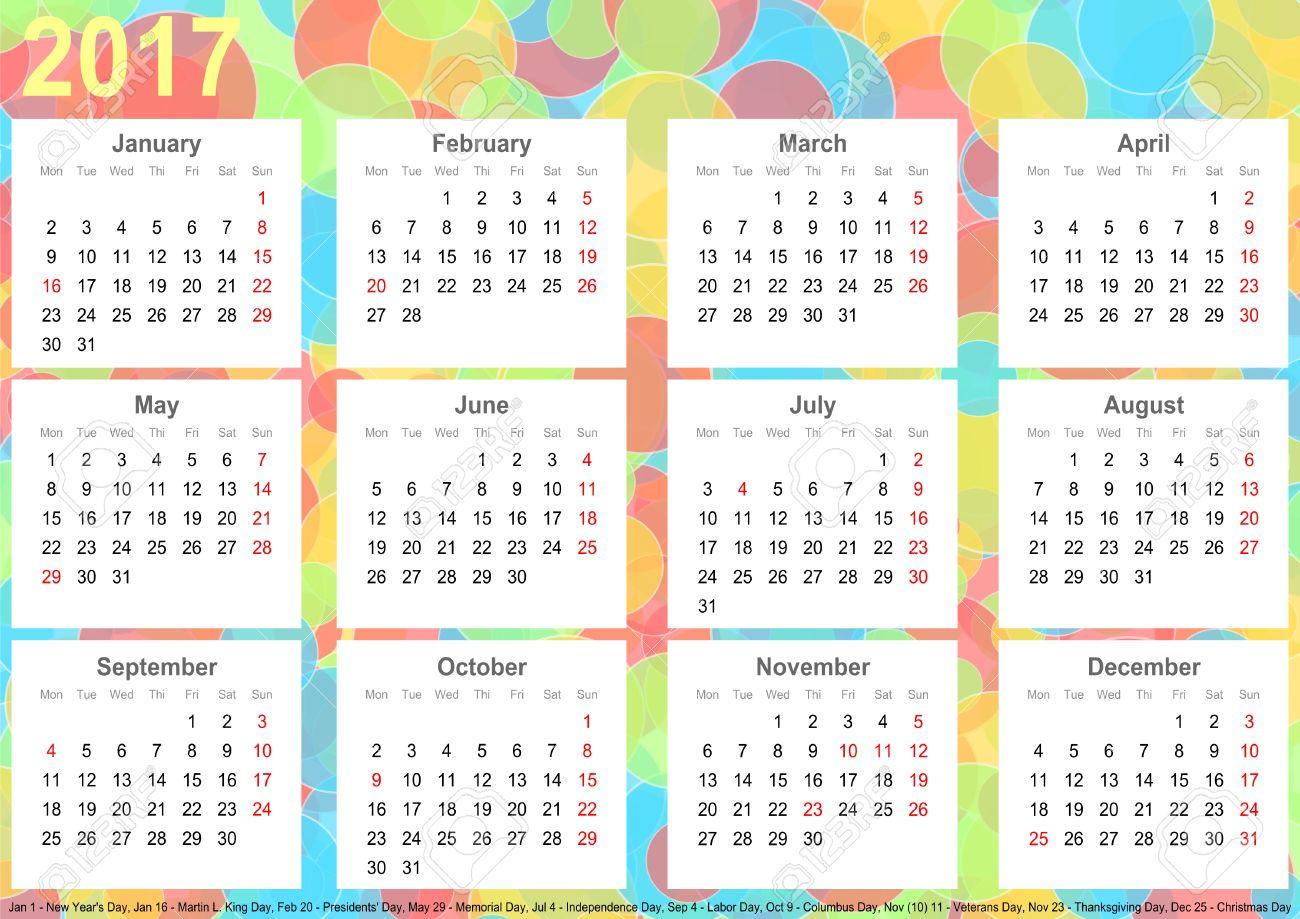 Calendrier 2017 De Fond Avec Des Cercles Colores Chaque Mois Sur