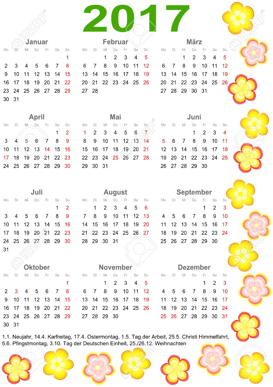 Calendar 2017 With Markings And A List Of Public Holidays For ...
