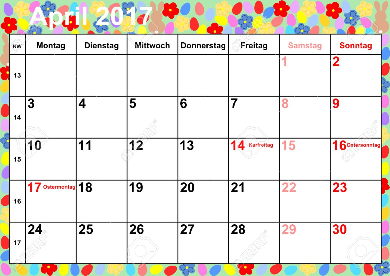 Calendar 2017 April Months With Holidays For Germany On Colorful ...