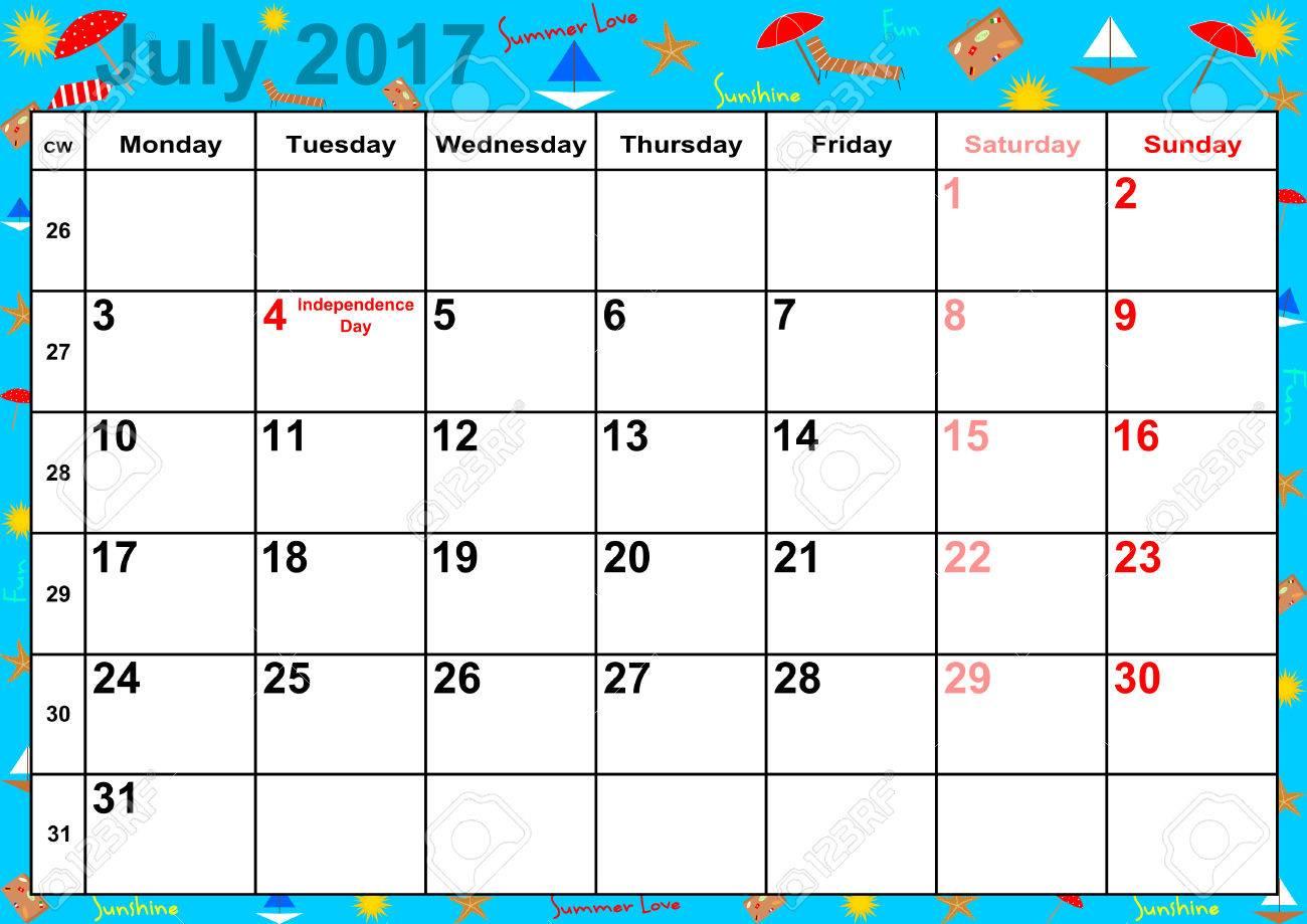 Calendrier 2017 Mois De Juillet Avec Des Vacances Pour Les Etats
