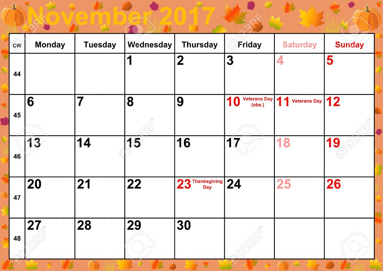 Calendrier 2017 Mois De Novembre Avec Des Vacances Pour Les Etats