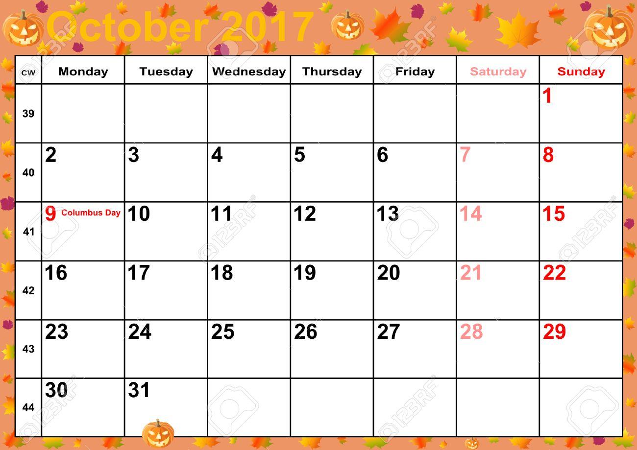 Calendrier 2017 Mois D Octobre Avec Des Vacances Pour Les Etats Unis