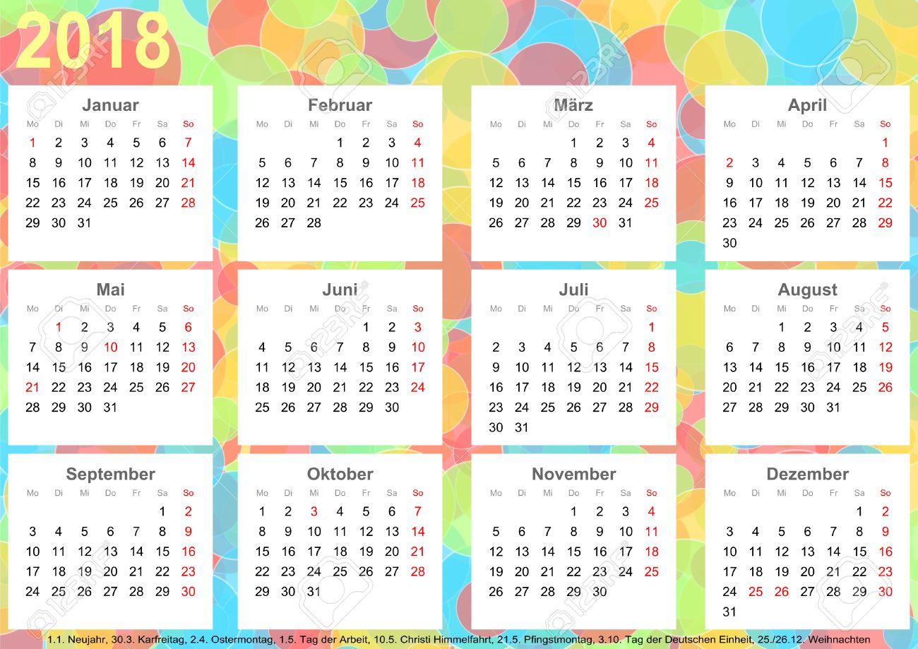 Calendario Nazionali.Calendario 2018 Sfondo Con Cerchi Colorati Ogni Mese Su Piazze Bianche E Con Festivita Nazionali Per La Germania
