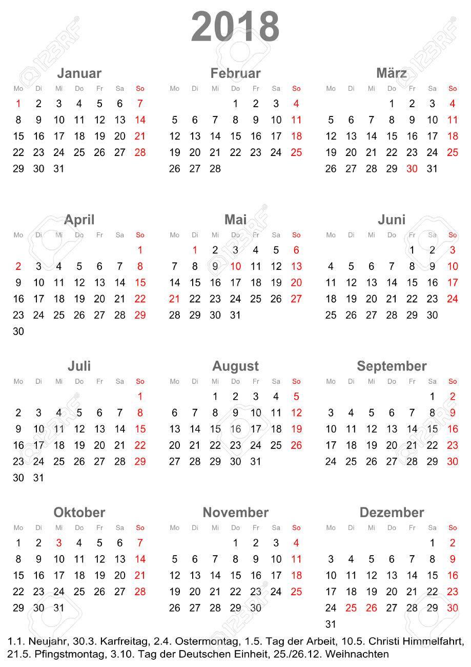 Calendario Con Giorni Festivi.Calendario Semplice 2018 Un Anno A Colpo D Occhio Inizia Il Lunedi Con I Giorni Festivi Per La Germania In Un Formato Ritratto