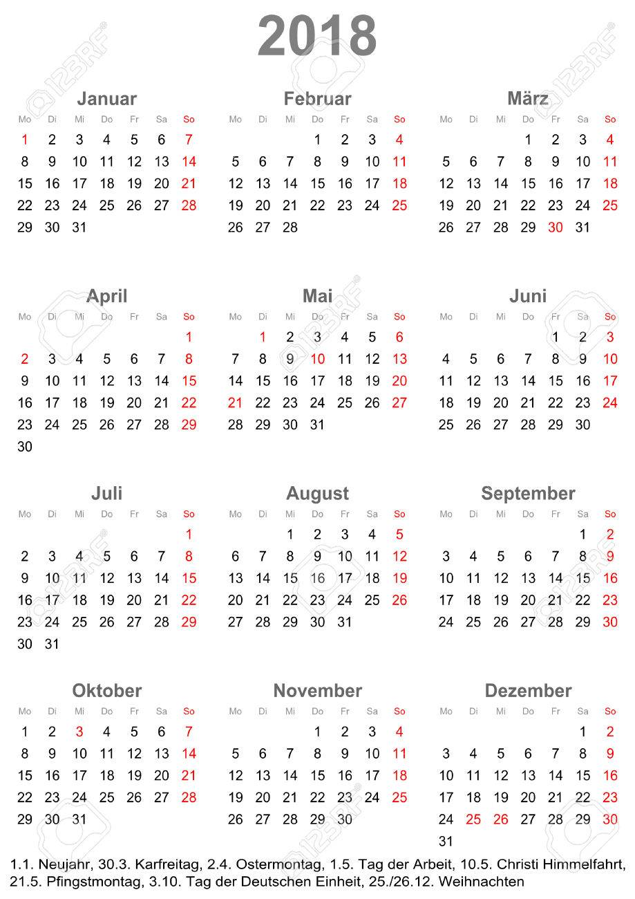 Simple Calendar 2018 One Year At A Glance Starts Monday With