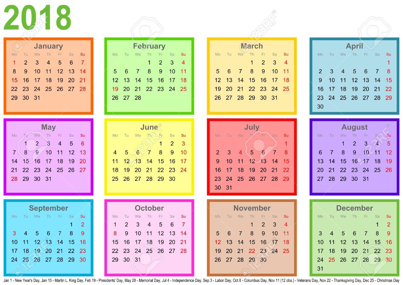 Calendario 2018 Cada Mes En Un Cuadrado De Diferentes Colores Y