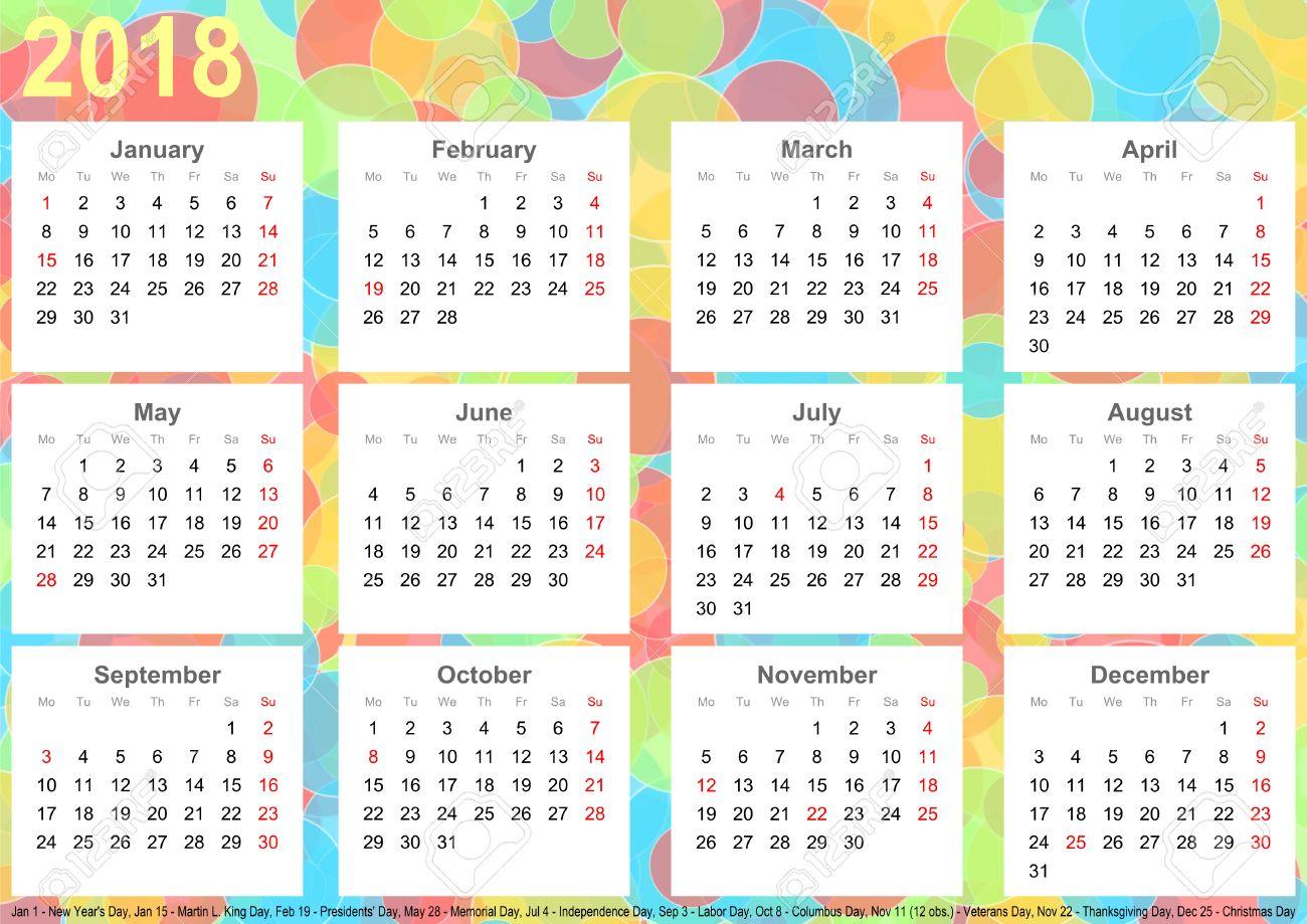 Kalender 2018 Hintergrund Mit Bunten Kreisen, Jeden Monat Auf Weißen ...