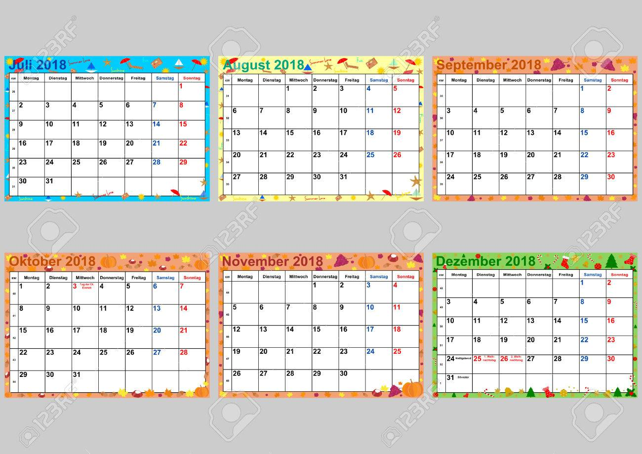 Colorful Calendar 2018 For Germany With Public Holidays Set