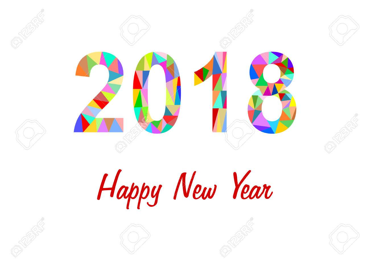 2018 made of colorful triangles on white background with lettering happy new year stock vector