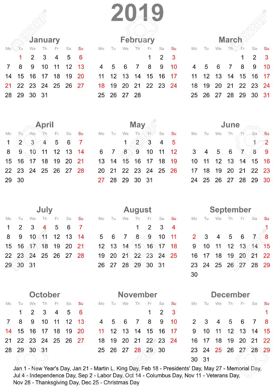 year calendar at a glance