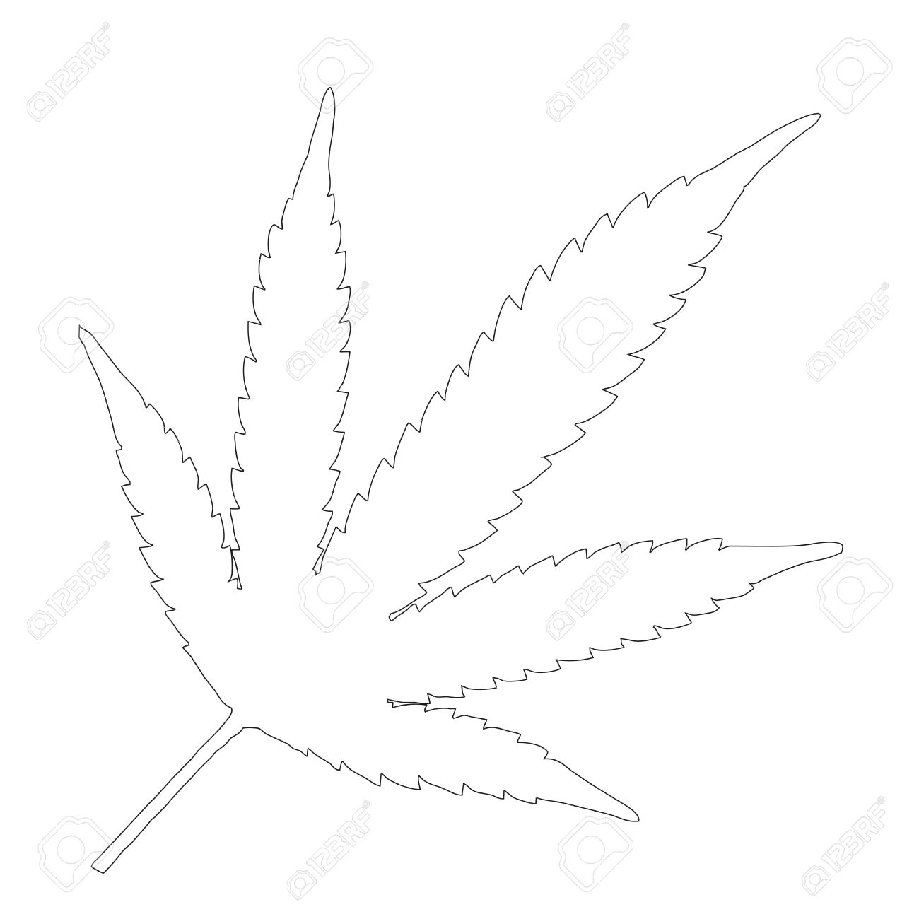 the black outline of a single marijuana leaf royalty free cliparts