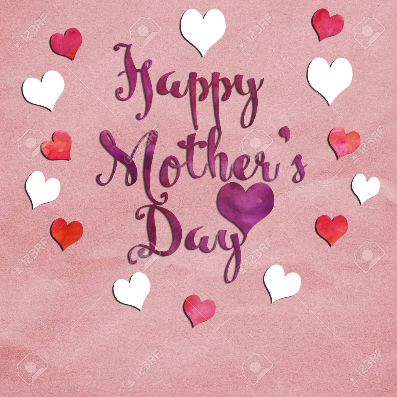 A Greeting Card With The Message Happy Mothers Day Stock Photo
