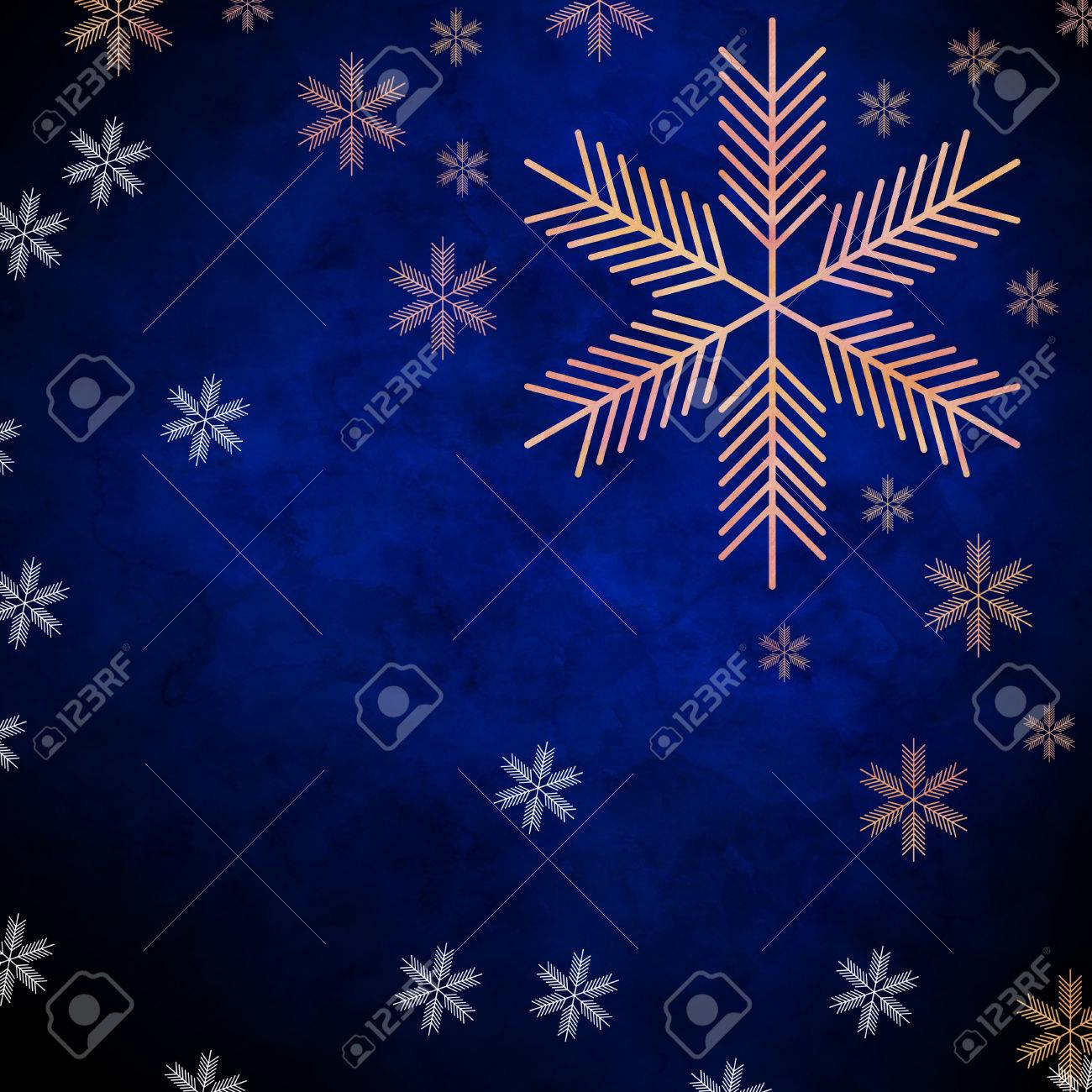 Abstract Snowflakes In Front Of A Blue Background Symbol For