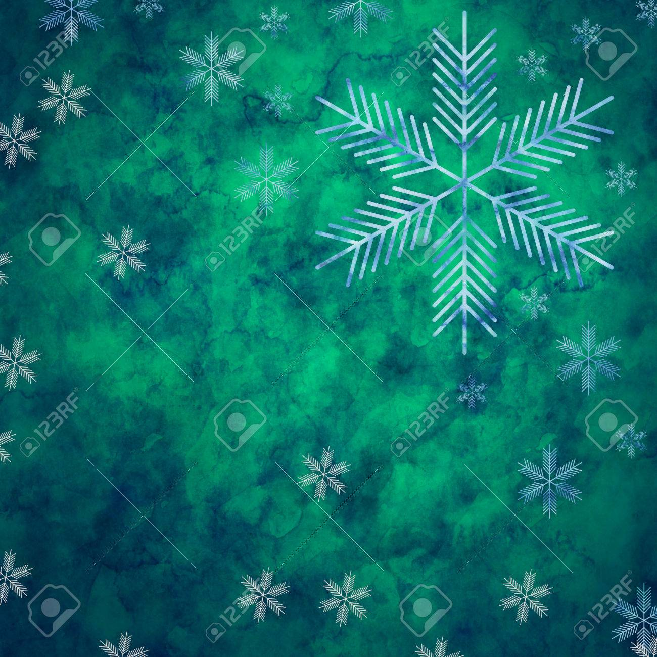 Abstract Snowflakes In Front Of A Green Background Symbol For