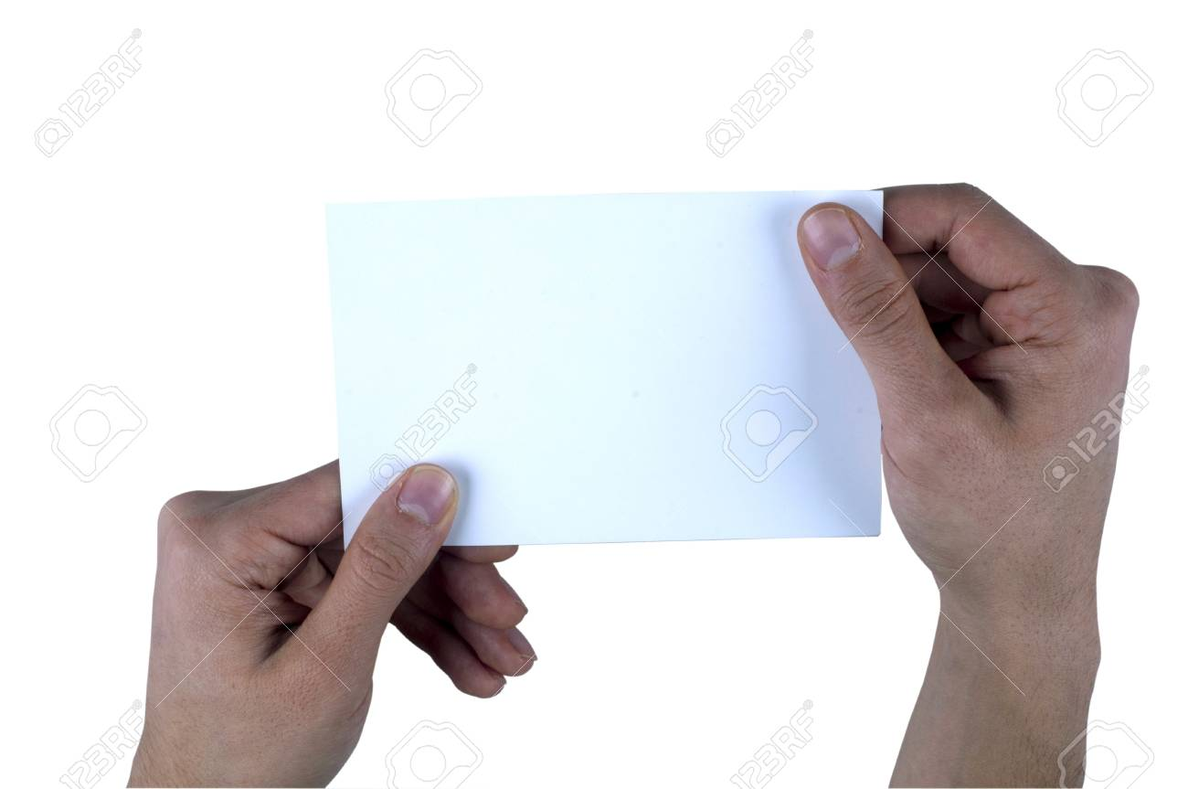Human Hand Holding Empty Paper Stock Photo - 11963787