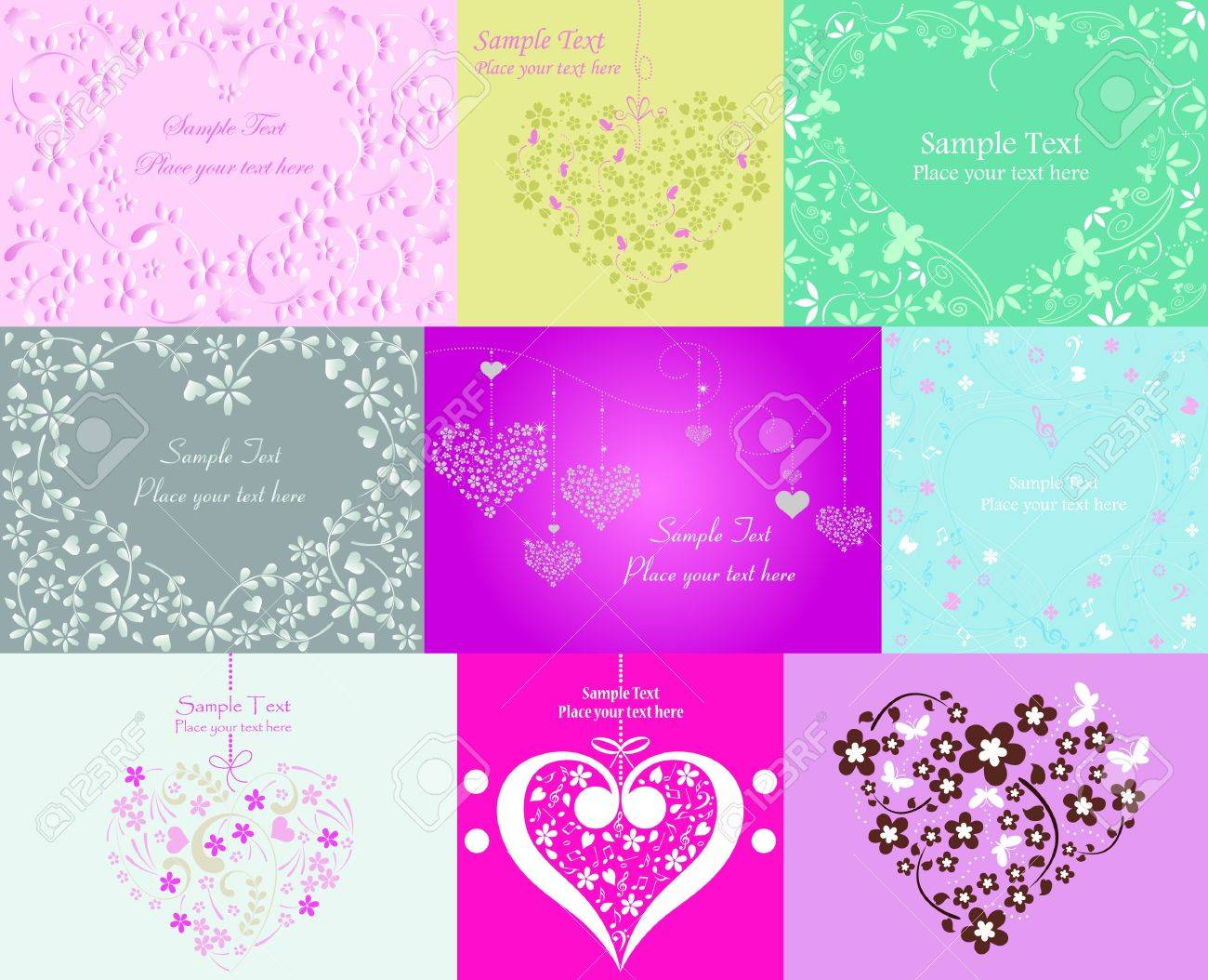 Valentine Day graphic design elements for cards and wallpaper � Part 1 (vector) Stock Vector - 11645569