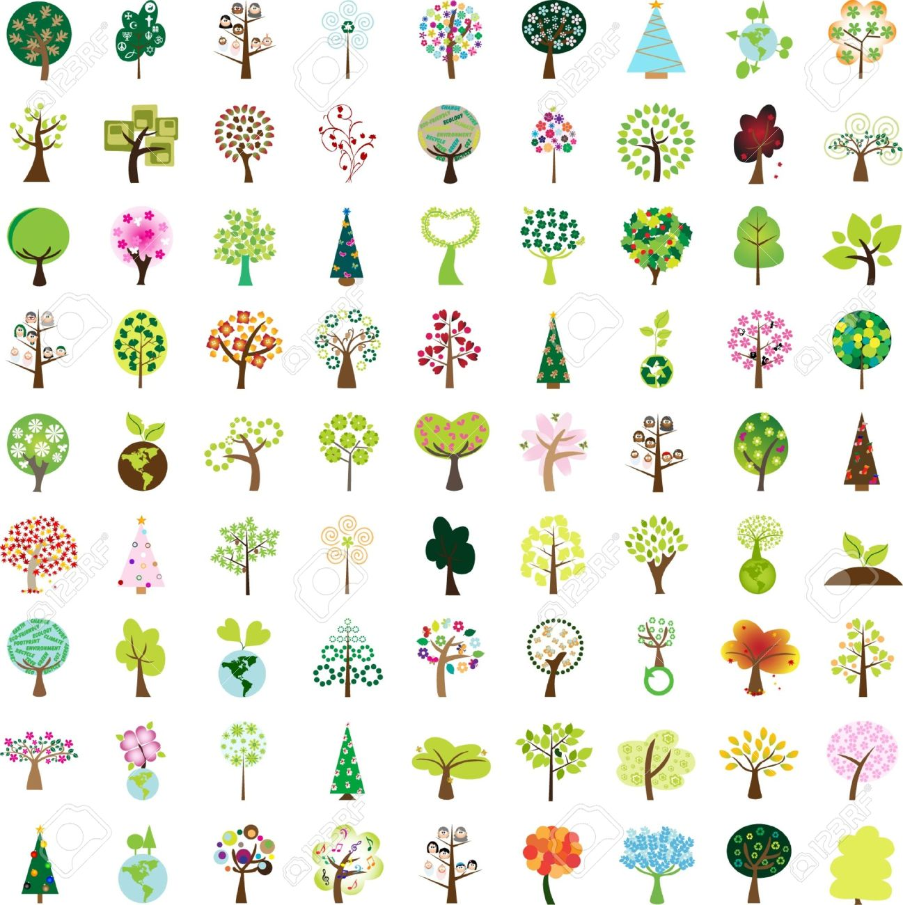 One hundred tree graphic design elements for icons and logos - Part 1 (vector) Stock Vector - 11645568