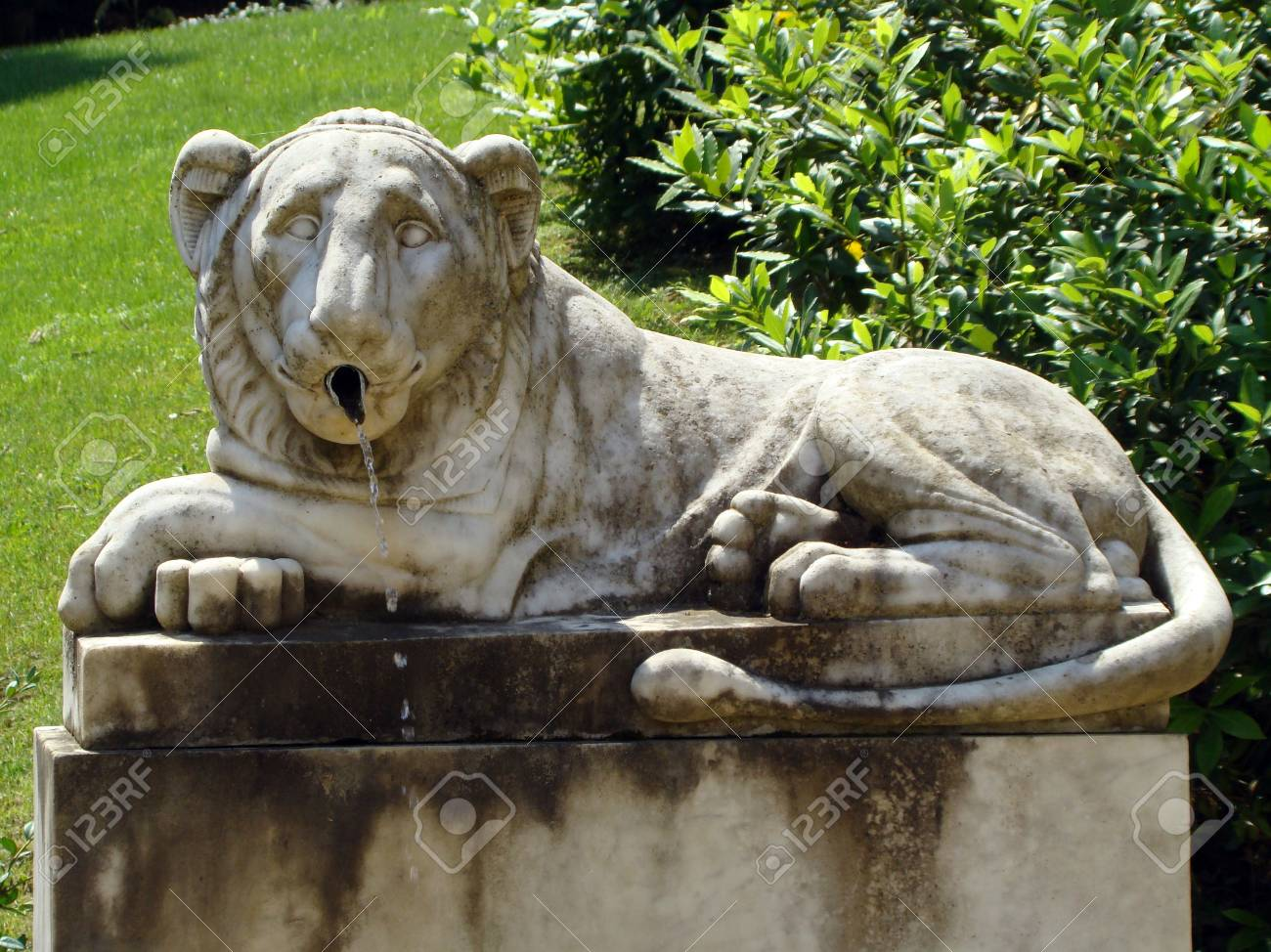 Lions Fountain Florence.Lion Fountain In The Bardini Gardens In Florence Stock Photo