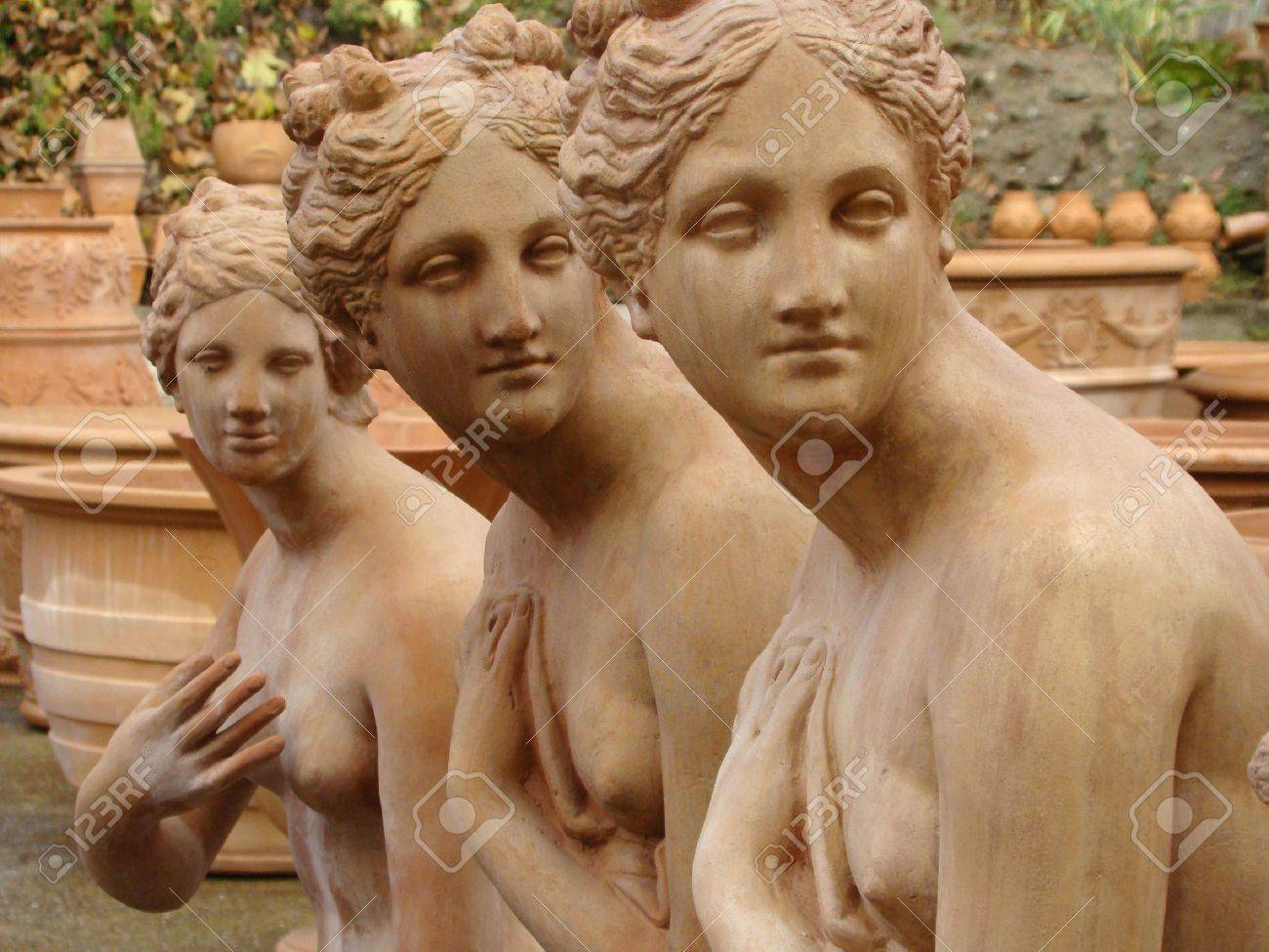 three graces, terracotta statues from Italy Stock Photo - 6005016