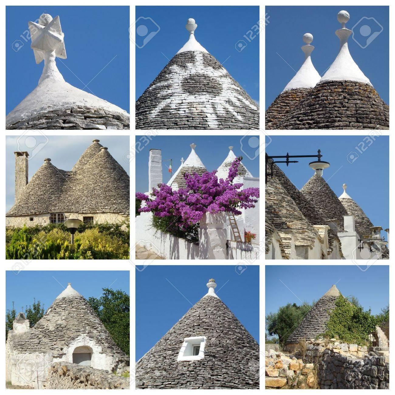 collage of trulli houses, Apulia, Italy Stock Photo - 8984375