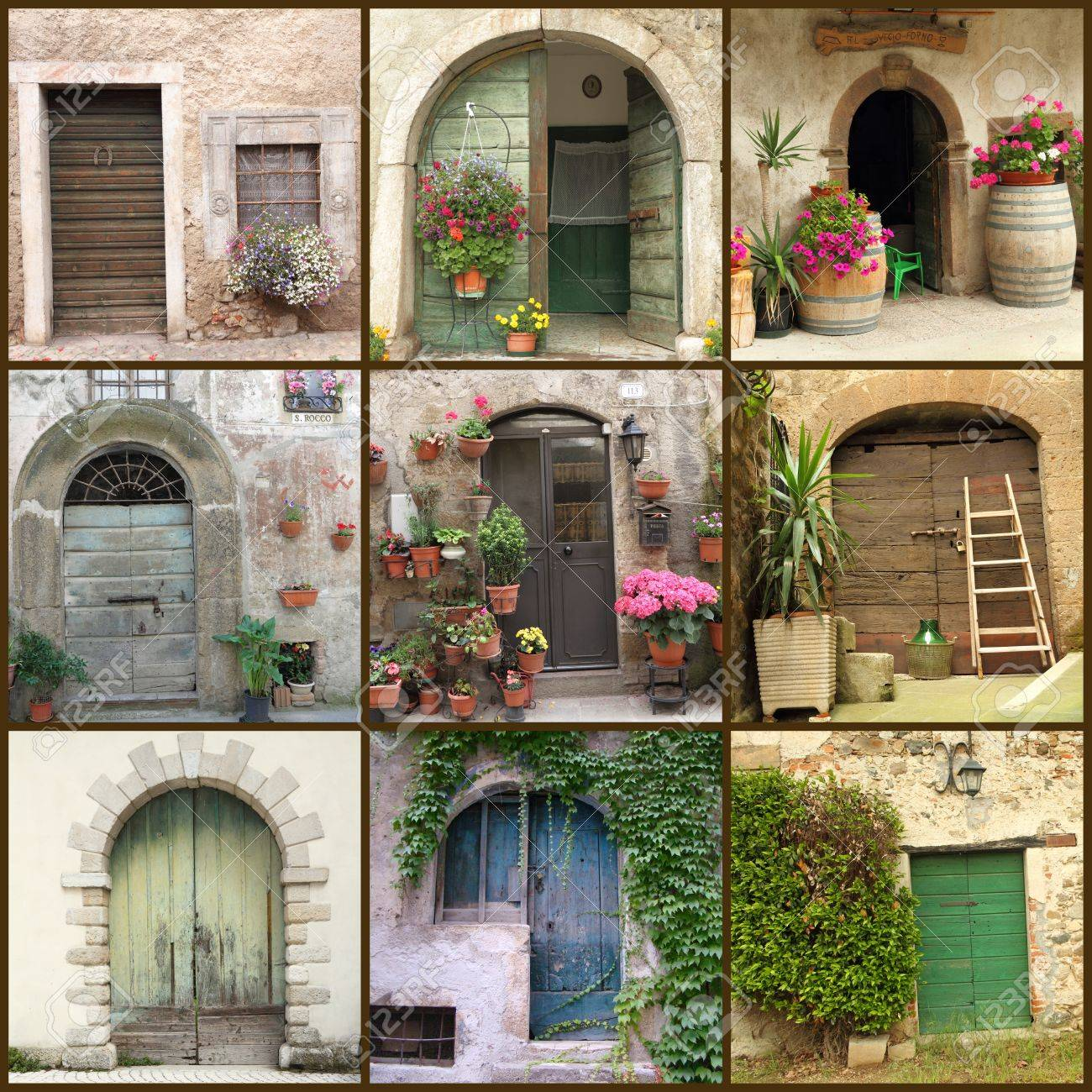 collection of beautiful rustic doors in Italy Europe Stock Photo - 10244879 : rocco doors - Pezcame.Com