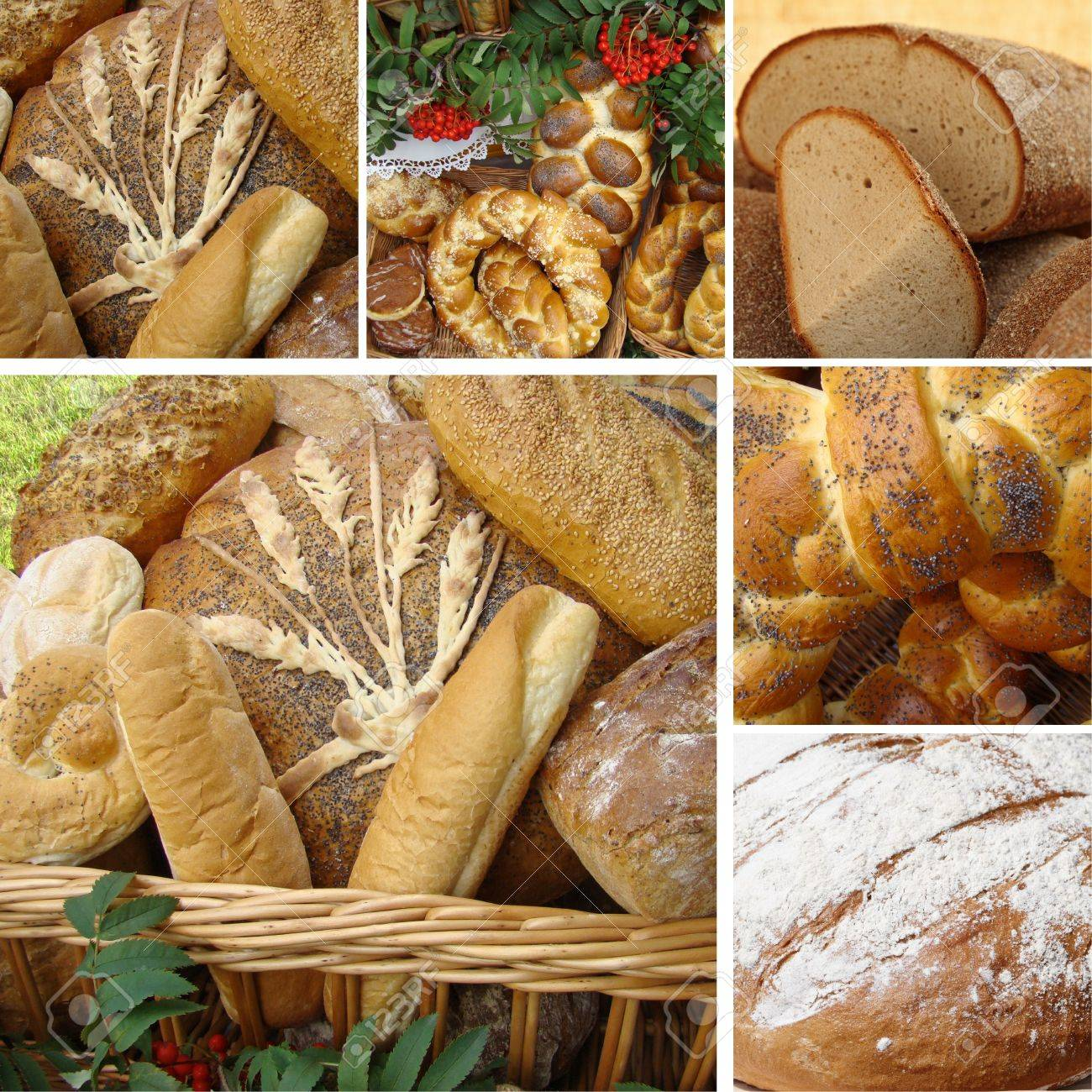 collage with variety of bread, Poland Stock Photo - 10496509