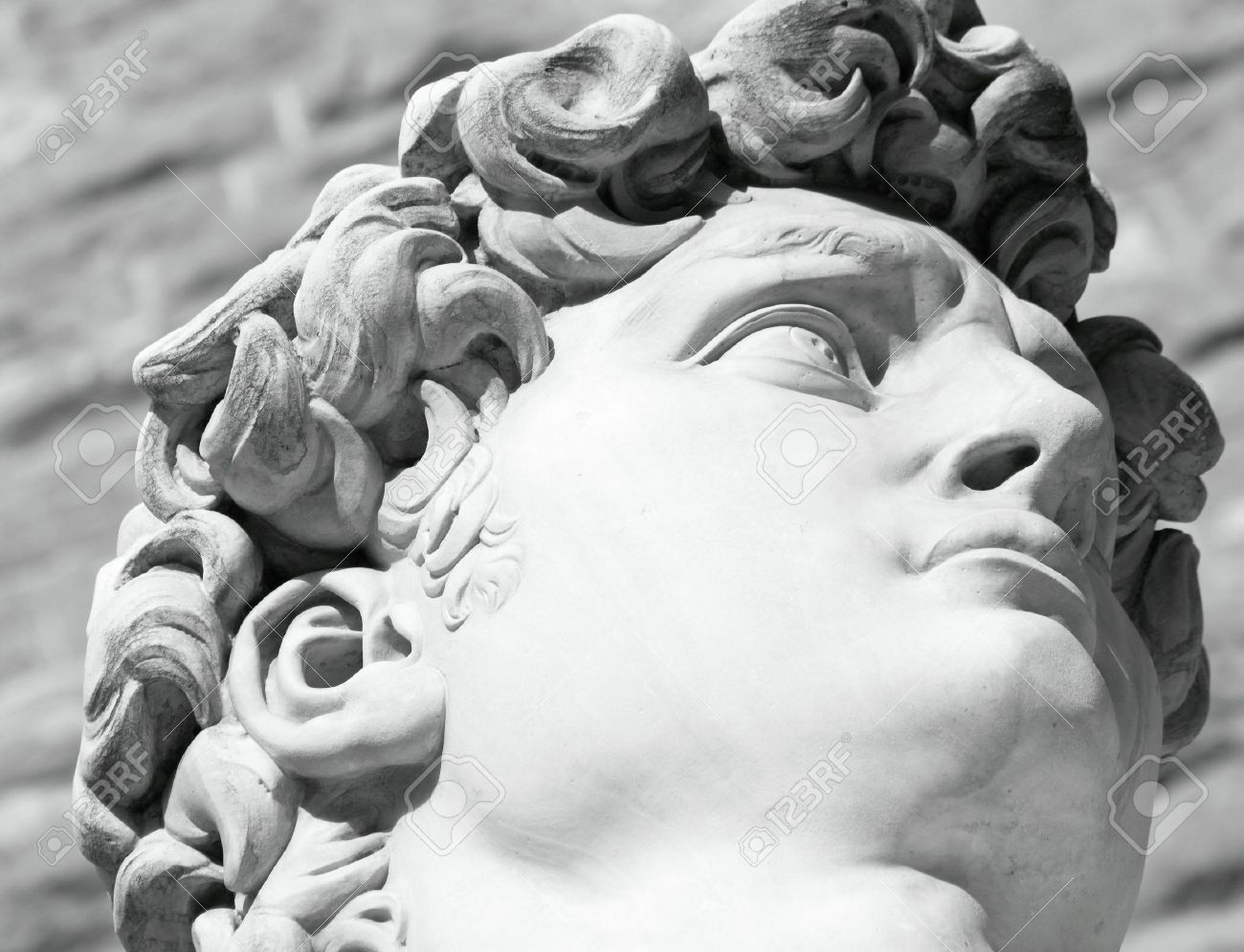 Black and white head of famous statue of david by michelangelo florence italy stock