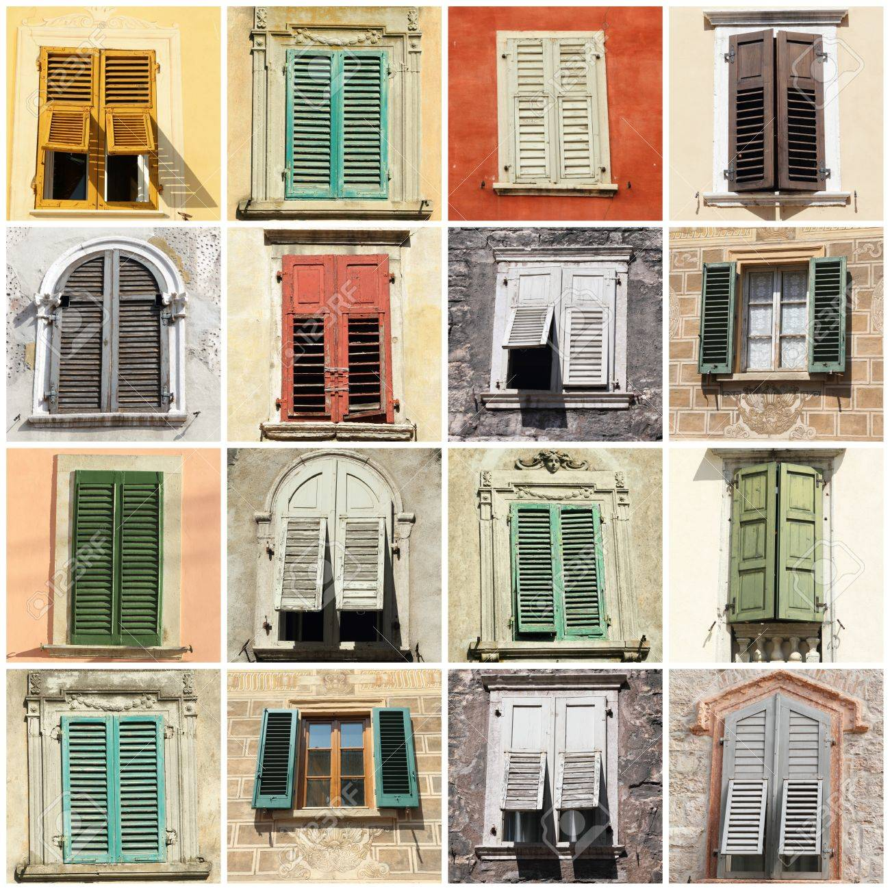 Antique Windows Collage With Antique Windows With Shutters In Italy Europe Stock
