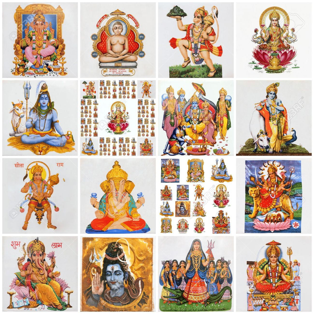 Collage with variety of asian religious symbols as lakshmi collage with variety of asian religious symbols as lakshmi ganesha hanuman vishnu biocorpaavc