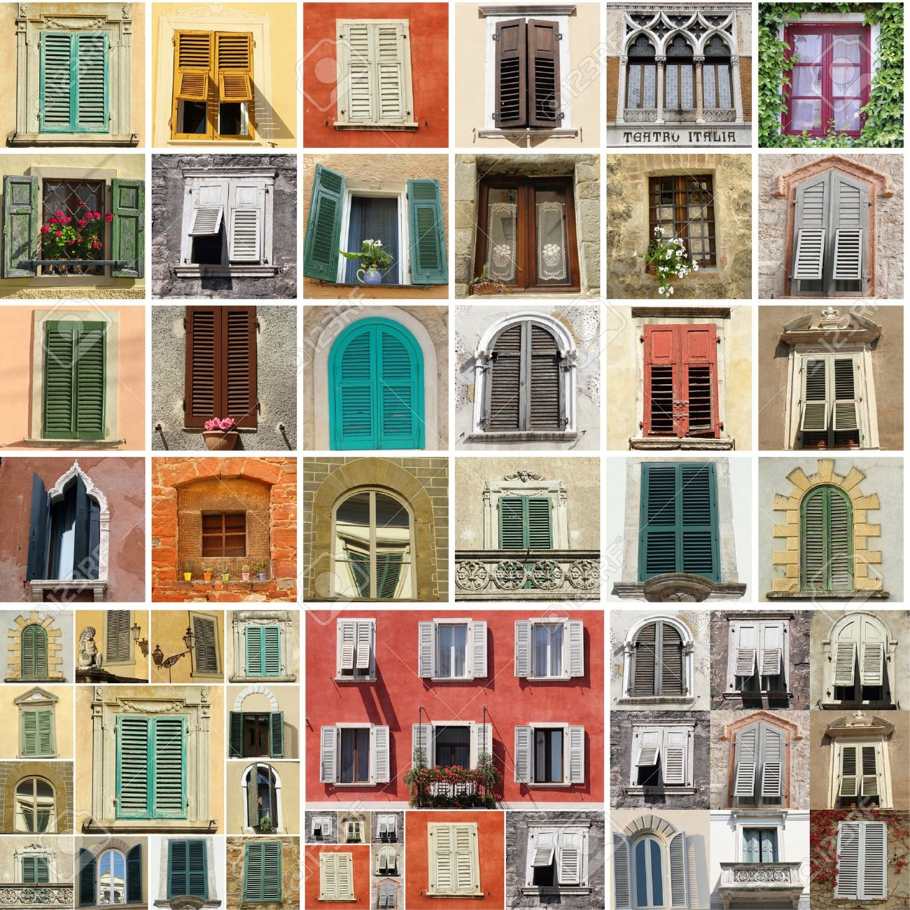 Antique Windows Colorful Collage Made Of Antique Windows In Italy Stock Photo