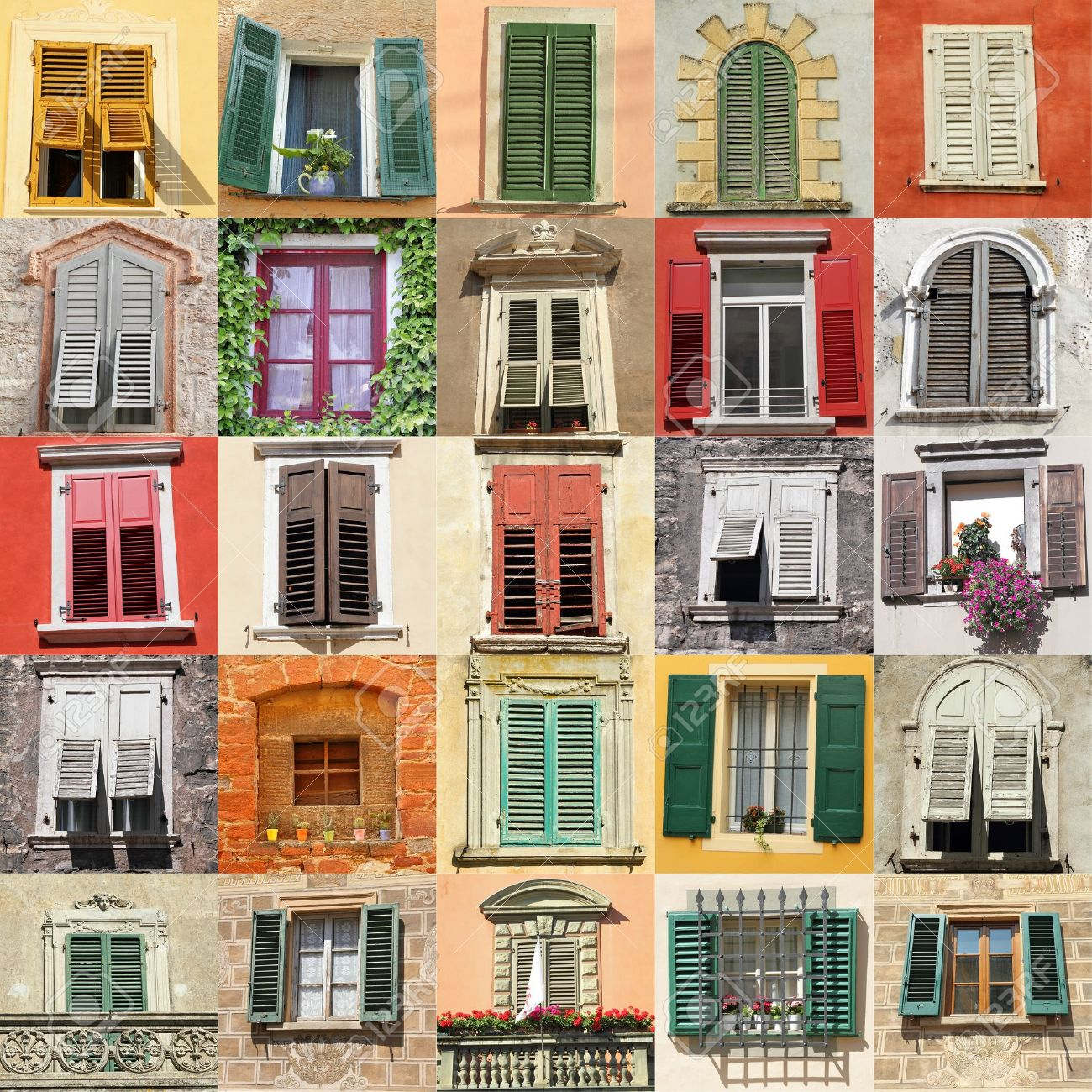 Antique Windows Collage With Old Windows From Italy Europe Stock Photo Picture