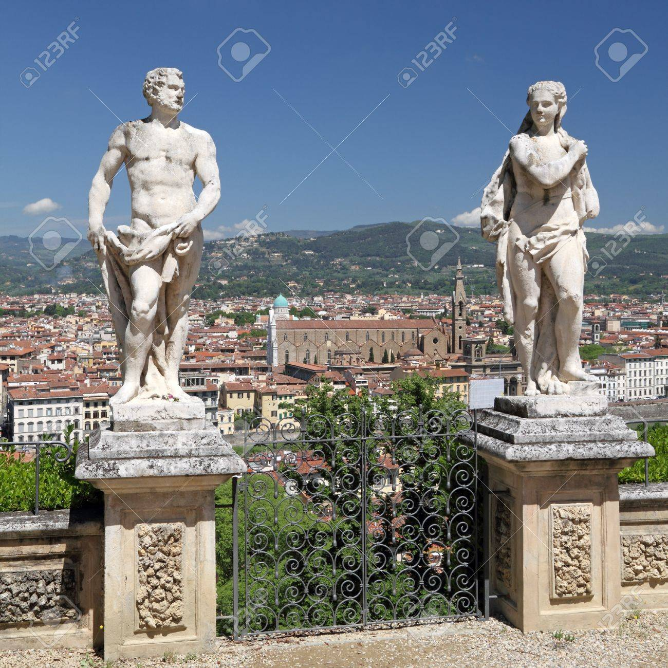 Antique Garden Statues In Bardini Garden And Spectacular View