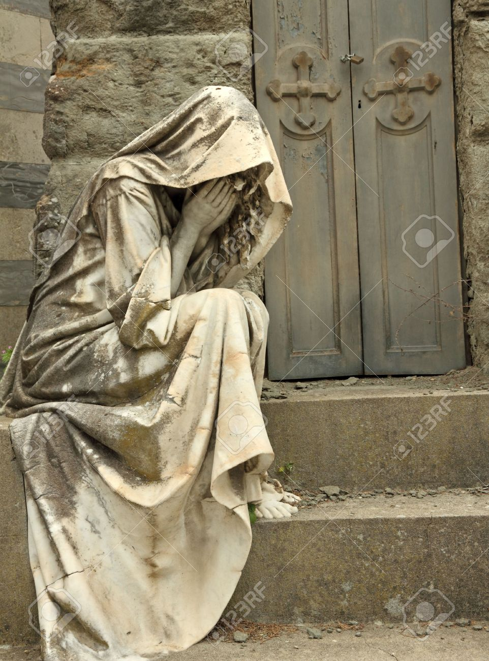 grief, tombstone on monumental cemetery in Florence, Italy, Europe Stock Photo - 15026551
