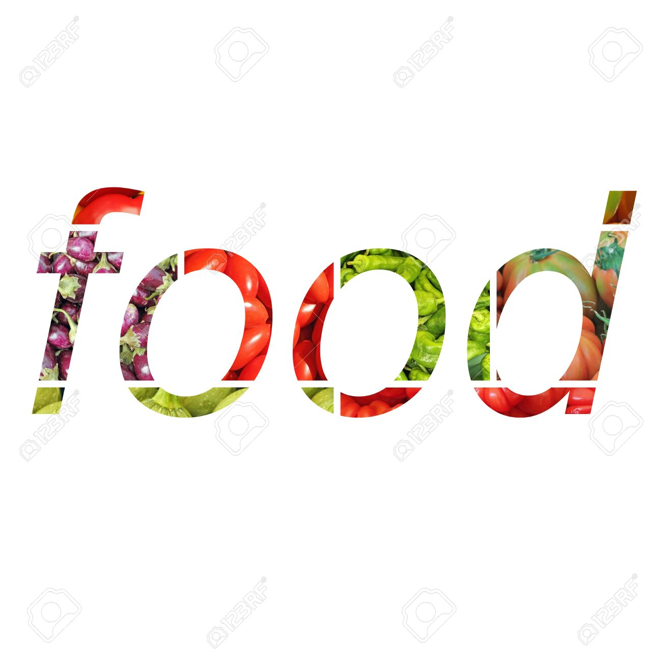 text food written on white background letters made of part stock photo text food written on white background letters made of part of vegetables