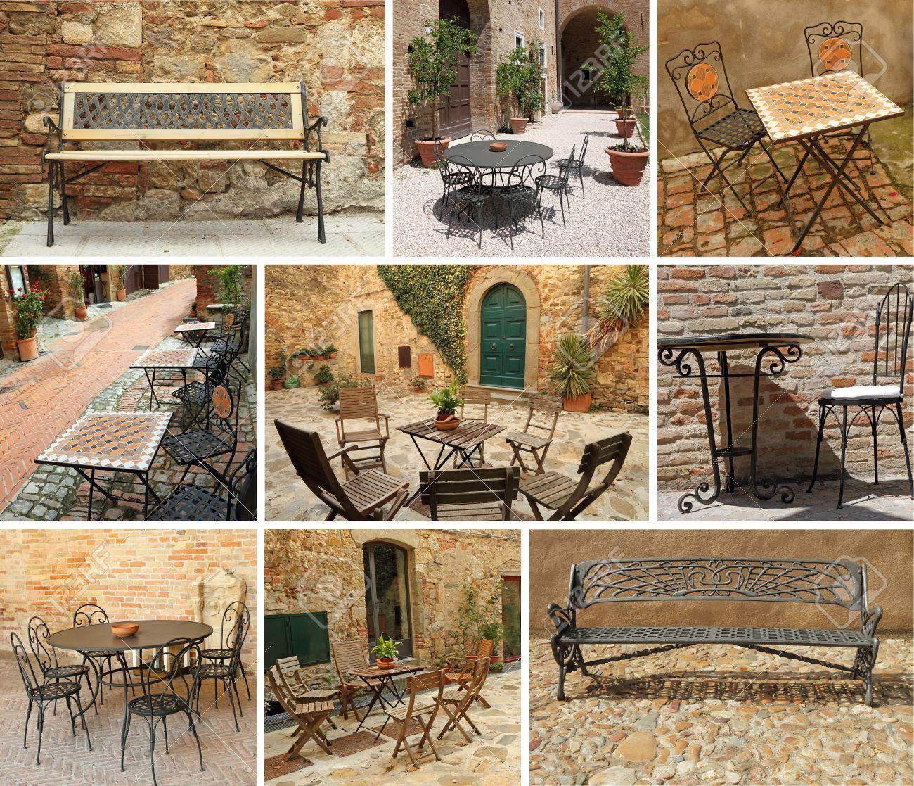 Vintage Gartenmöbel Collage Italien Europa Lizenzfreie Fotos