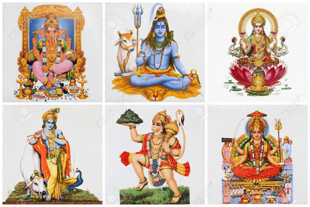 Poster With Hindu Gods On Ceramic Tiles Stock Photo, Picture And ...