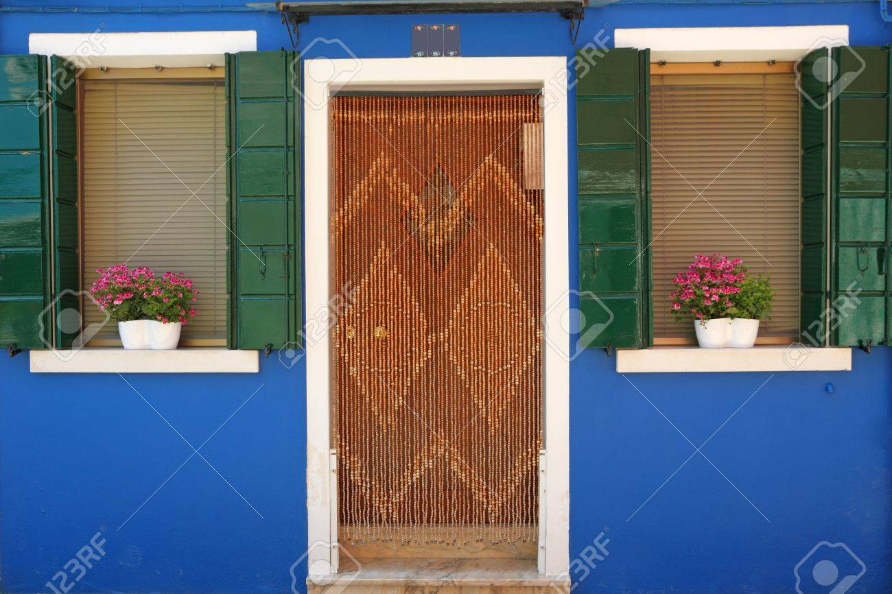 colorful entrance to the typical  house in Burano village, borgo on venetian lagoon, Venice, Italy, Europe Stock Photo - 21161046