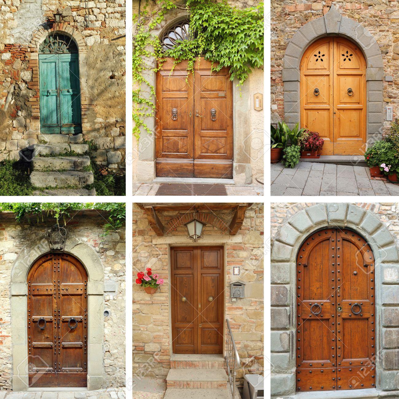 ビンテージ ドア壁紙 トスカーナ イタリア の写真素材 画像素材 Image