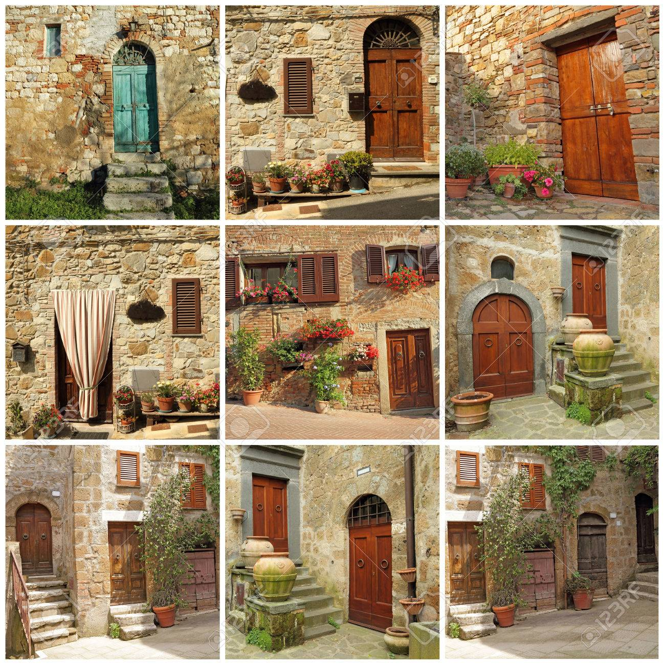 collection of pretty tuscan house doorways Italy Europe Stock Photo - 24738464  sc 1 st  123RF.com & Collection Of Pretty Tuscan House Doorways Italy Europe Stock ...
