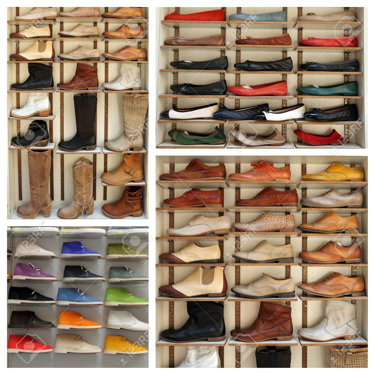 4933cbb50a Exibition Shelves With Various Leather Shoes - Collage
